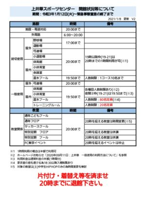 【上井草】開館状況等についてV2のサムネイル
